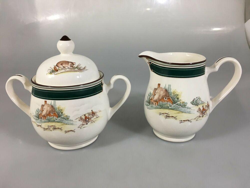 Noritake Keltcraft Pursuit Creamer Sugar Bowl Set Ireland 9170 Fox Hunting Noritake Sugar Bowl Set Cream And Sugar Bowl