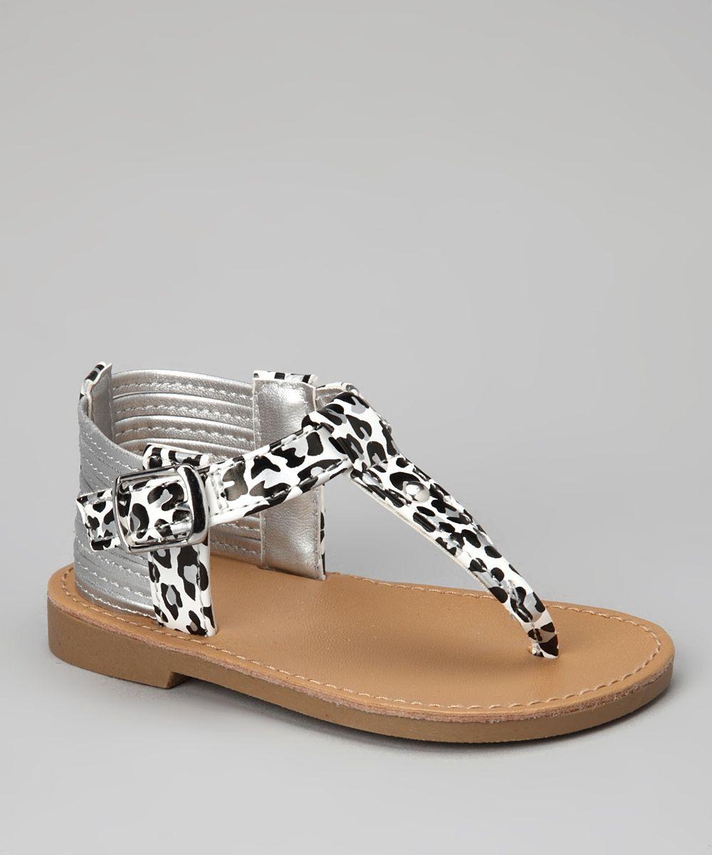 Black newborn sandals - Natural Steps White Black Leopard Sahara Sandal