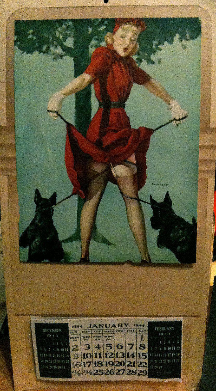 Stupell yorkie dog 3 panel decorative fireplace screen - Vintage Blonde And Scotty Dogs Pin Up By Litho Usa Calendar Artist Elvgrene