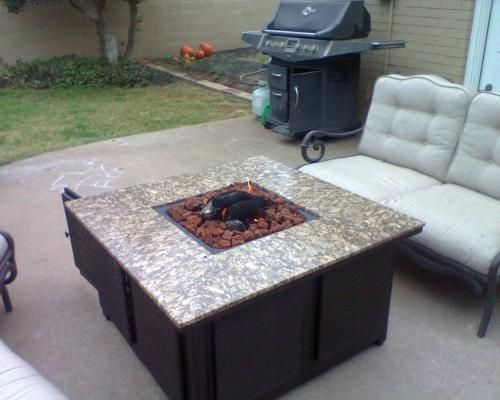 Propane Gas Fire Pit With Granite Mantel And Faux Wicker Panels