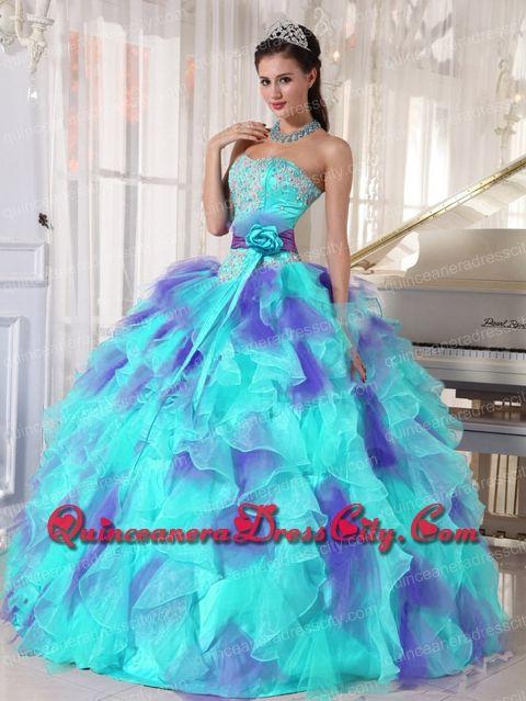 92b49e1ace4 Discount Ball Gown Sweetheart Organza Floor-length Appliques Quinceanera  Dress