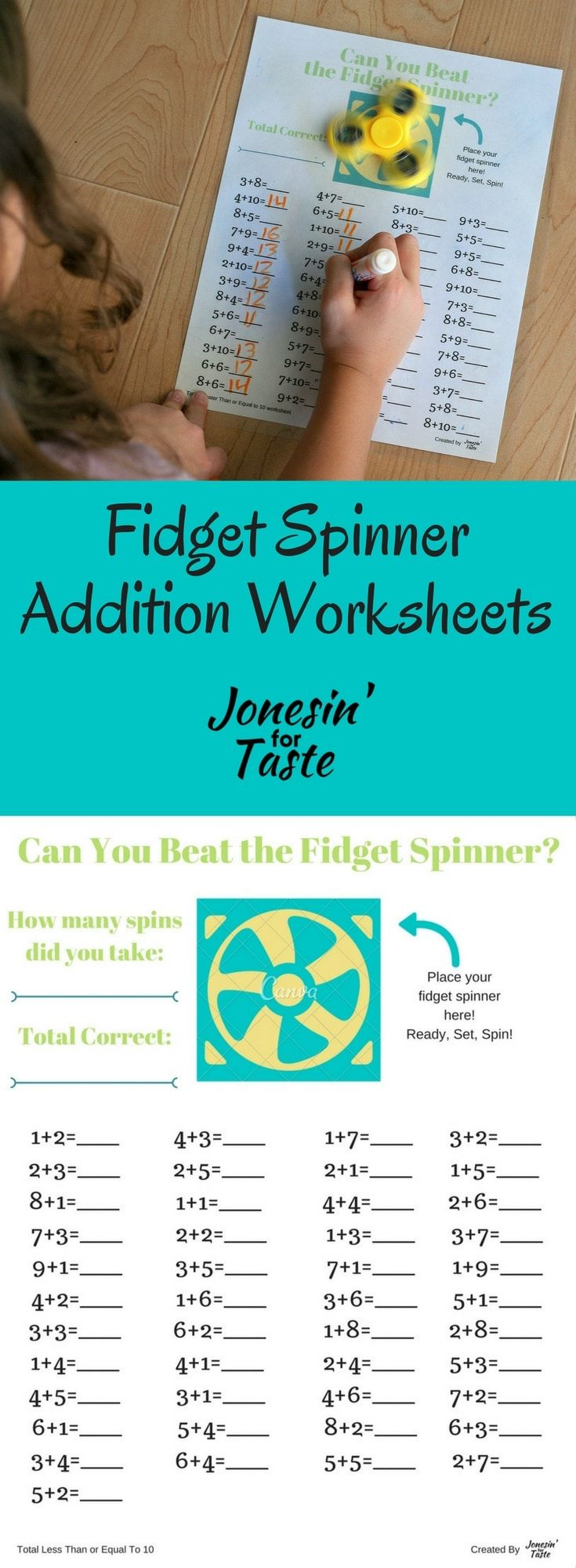 Fidget Spinner Addition Worksheet | Pinterest | Addition worksheets ...