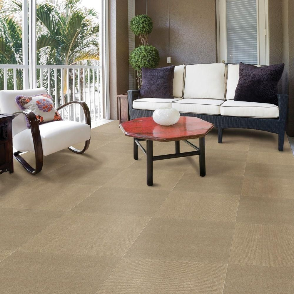 TrafficMASTER Ribbed Putty Texture 18 In X Carpet Tile 16 Tiles Case