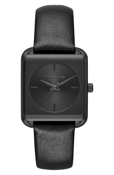 93506cb0a95 MICHAEL Michael Kors  Lake  Leather Strap Watch