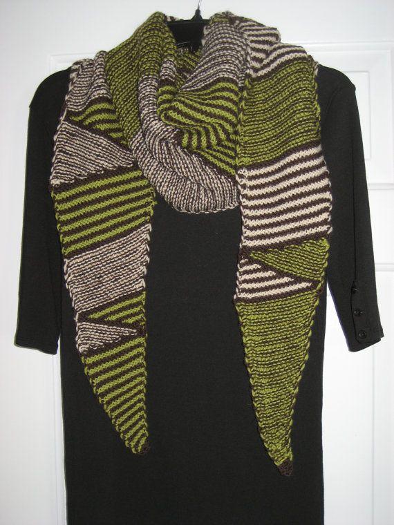 knitted scarf modern stripes wool shawl by DutchDaisyDesign, $50.00