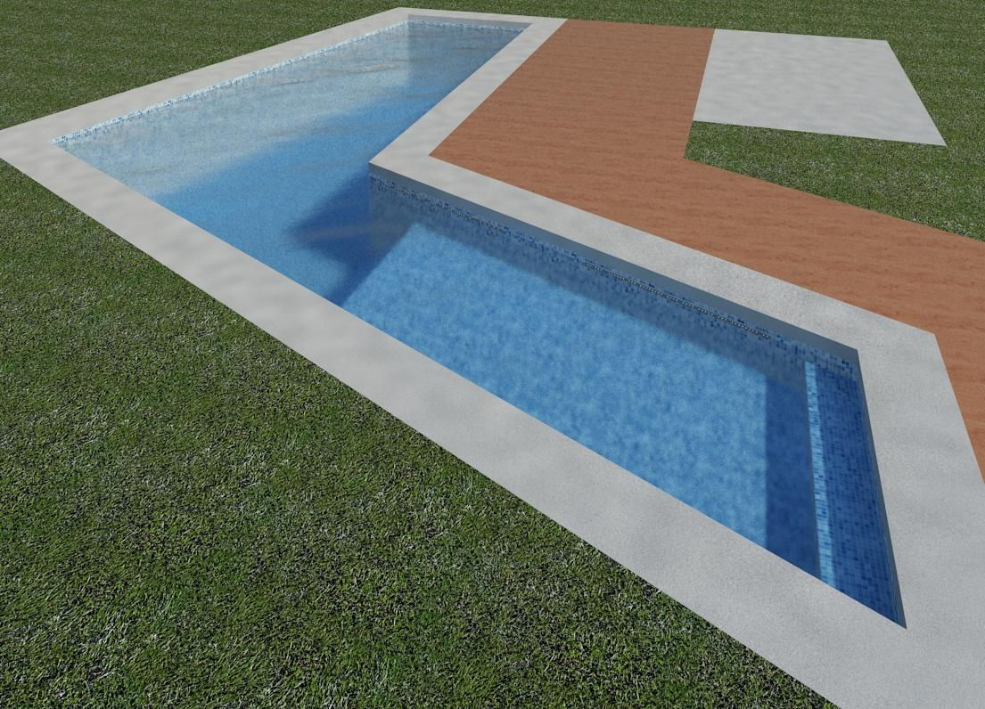 Piscinas en forma de l render el dise o que andas for Diseno de piscinas residenciales