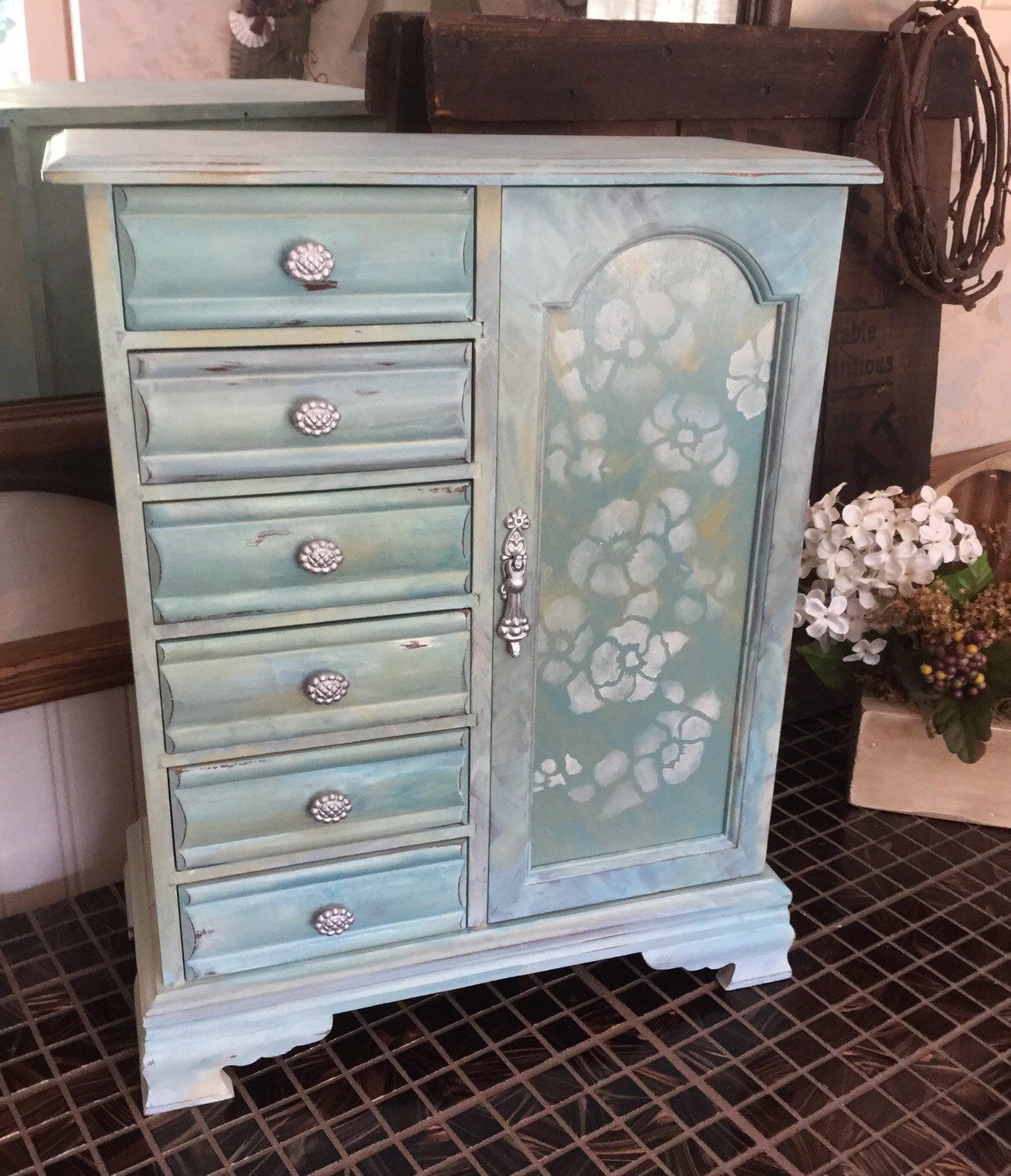 Vintage Upcycled Jewelry Box Reclaimed Hand Painted Shabby Chic