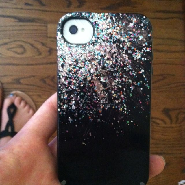 Black iphone cover with sparkly nail polish so easy and for How to renew old nail polish