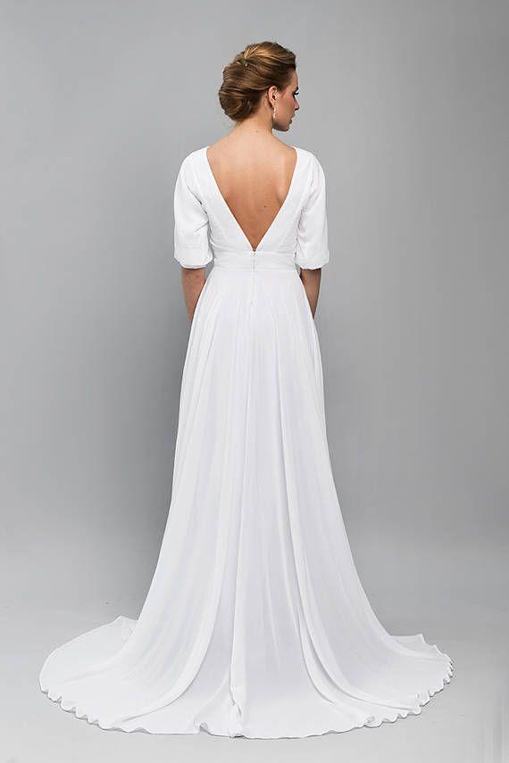 Open Back Wedding Dress / boho wedding dress / Vintage Wedding ...
