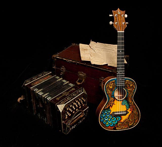 Hand painted ukulele and Bandonion - lovely duo, Lichty Guitars