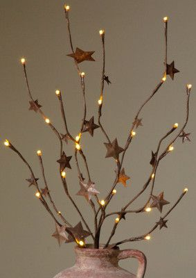Primitive Rusty Star Branch Lights From Country Craft House