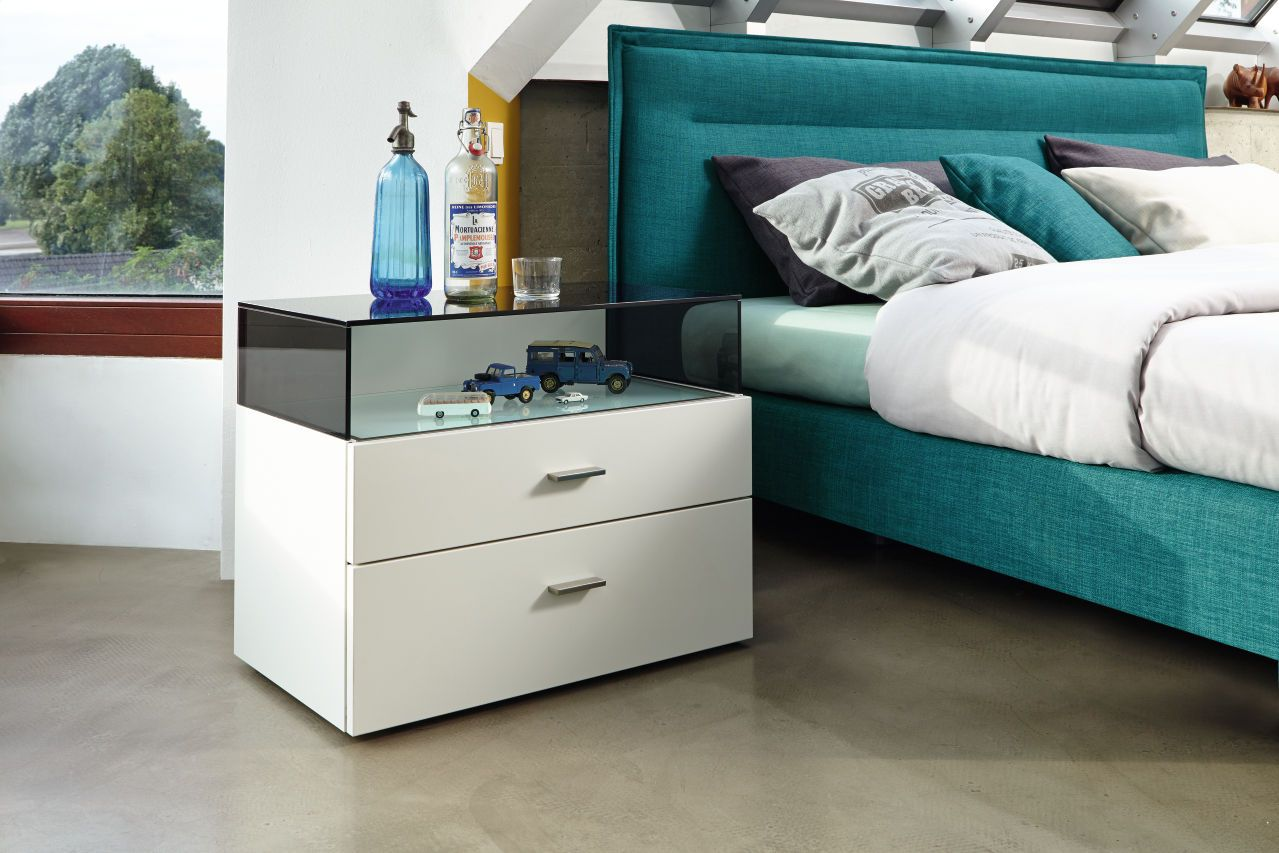 Bedroom Sleeping Nightstand Glass White Nowbyhuelsta