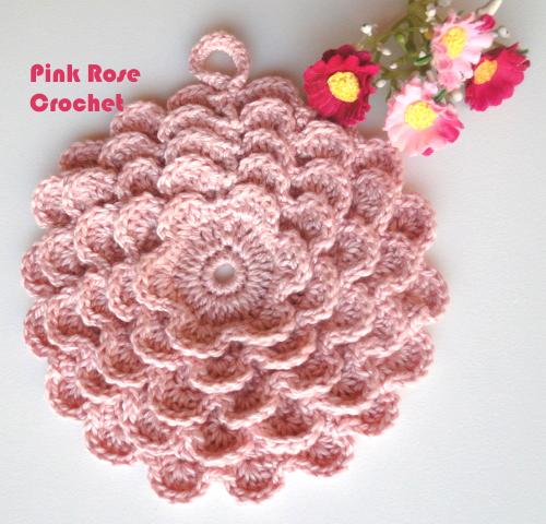 Pink Rose Crochet Pega Panelas Flor Calla Lily Pot Holders Flores