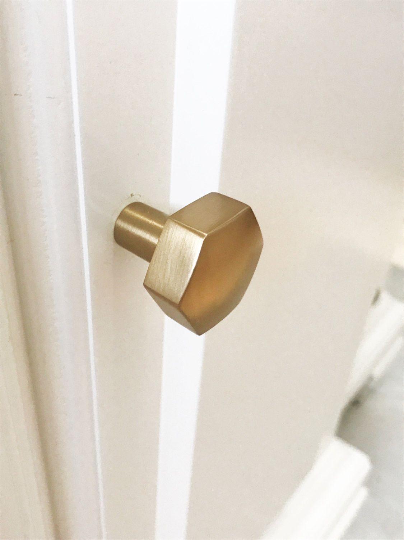 Geo Brass Drawer Knob In Satin Brass   Brass Cabinet Hardware