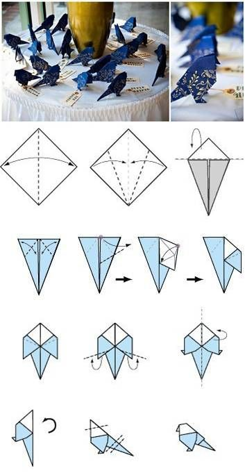 Instructions how make paper bird origami stock illustration.