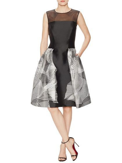 Jacquard Flared Dress with Mesh Trim by Carolina Herrera at Gilt