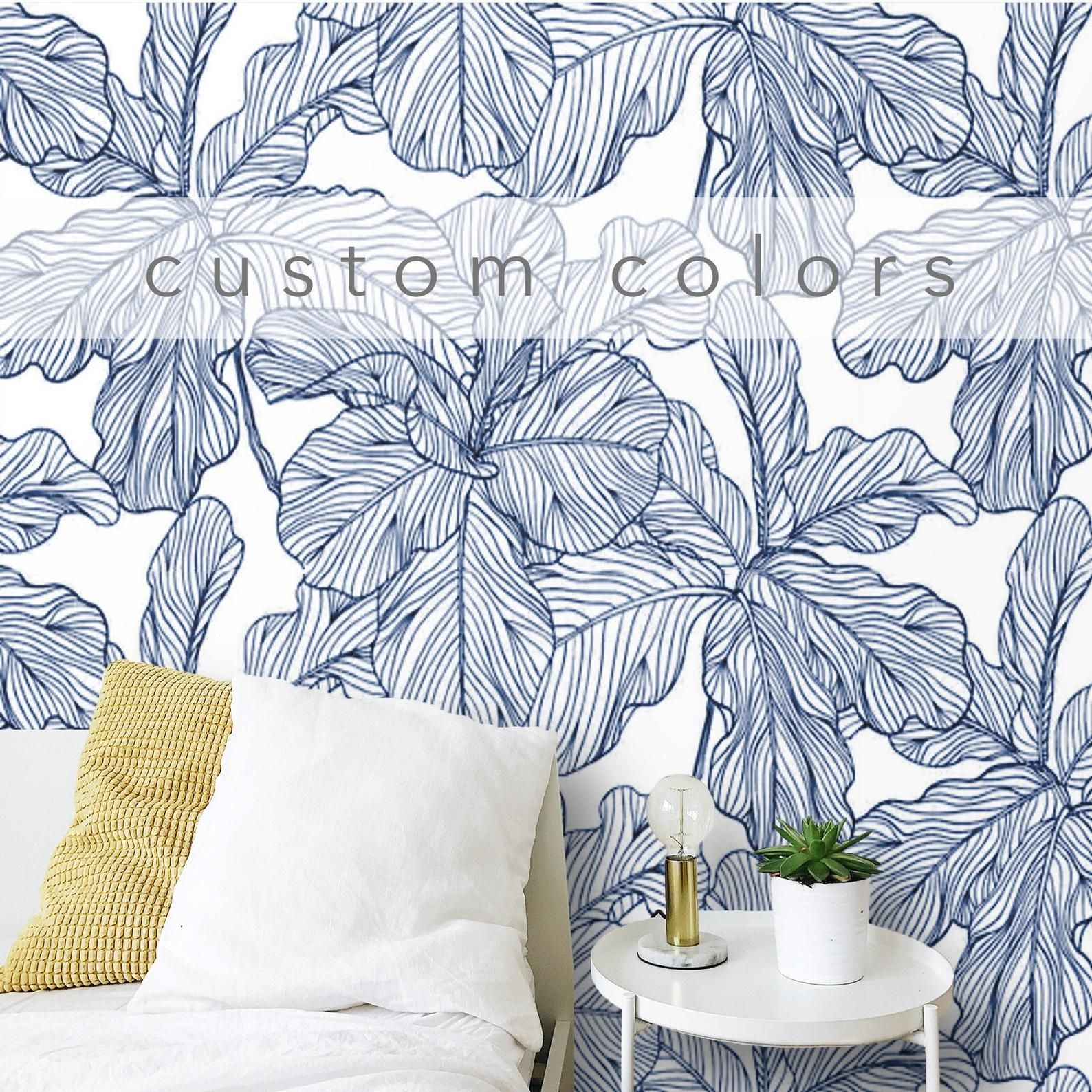 Peel And Stick Wallpaper Leaves Blue And White Removable Self Adhesive Traditional Wallpaper Mural Custom Color Tropical Wallpaper Non Woven Blue And White Wallpaper Peel And Stick Wallpaper Traditional Wallpaper