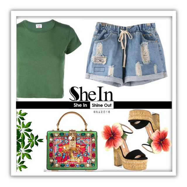 """SHEIN ♥"" by menina-ana ❤ liked on Polyvore featuring RE/DONE, Dolce&Gabbana and Brian Atwood"