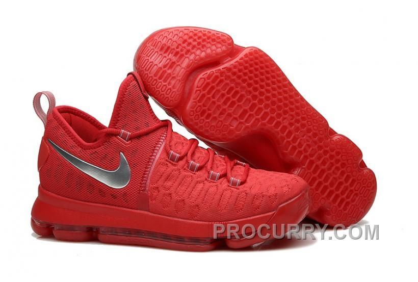 Nike Kevin Durant KD 9 Sport Red Silver Basketball Shoes 2016 For Sale Online