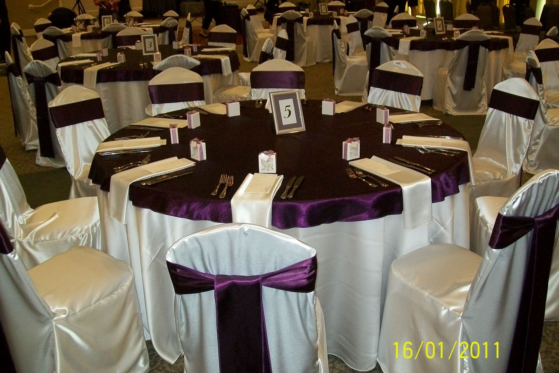 "Ivory Satin Base Linen with Eggplant Plum Satin ""Cap"" matching"