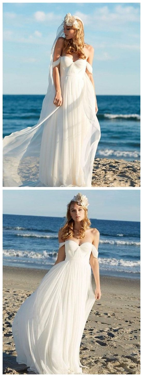 A-line Ivory Chiffon Off the Shoulder Summer Beach Wedding Dresses ...