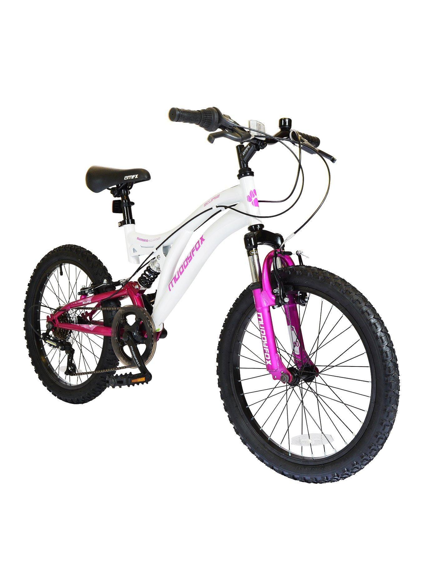 Muddyfox Eclipse 20 Inch Girls Bike Dual Suspension White Pink