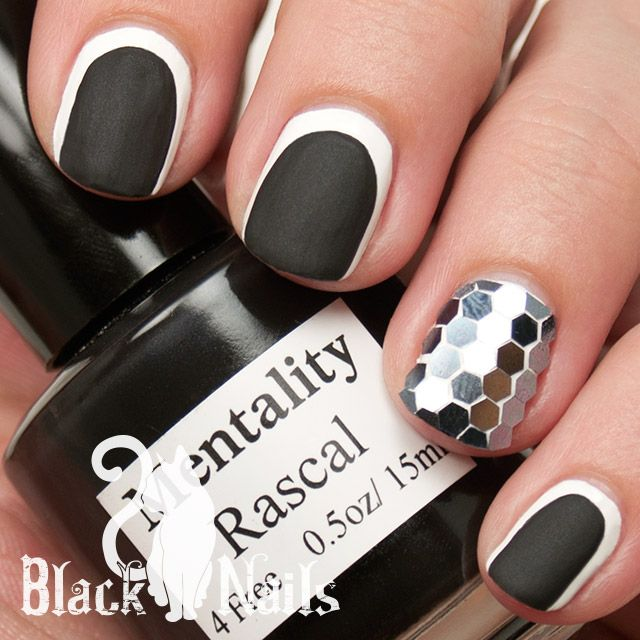 Black and White Glitter Placement Nail Art. This is a ruffian moon ...