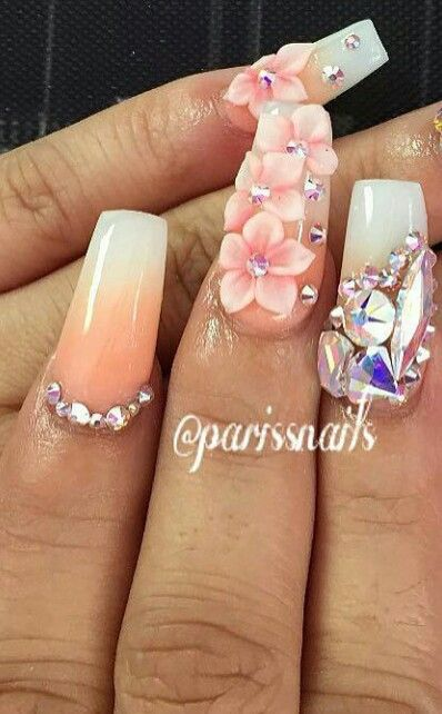 Pink Pastel Rhinestone Ombre Floral Nailart Flower Nails Design Flower Nails Rhinestone Nails 3d Flower Nails