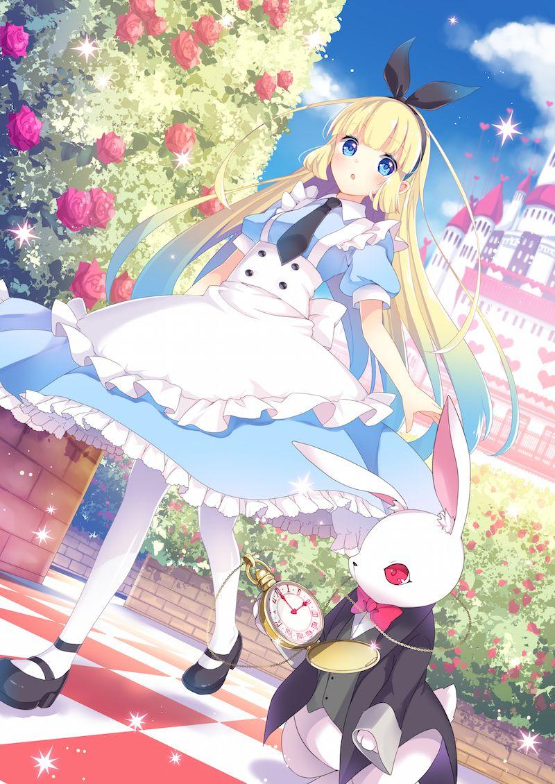 in cosplay Alice costumes wonderland
