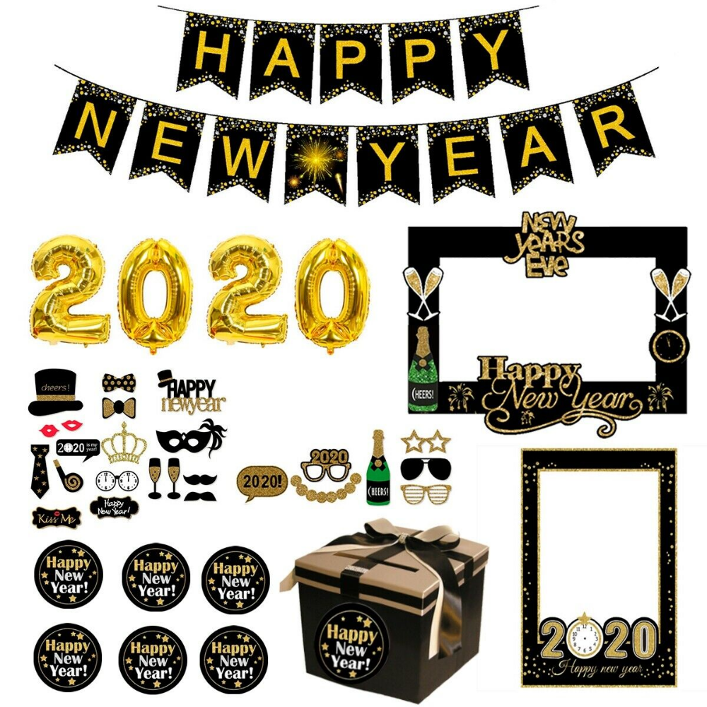 Christmas Happy New Year 2020 Balloons Paper Photo Booth Props Party Xmas Decor