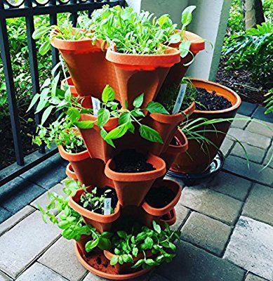 Mr Stacky 5 Tier Strawberry Planter Pot 5 Pots Container Herb Garden Stackable Planters Indoor Herb Garden