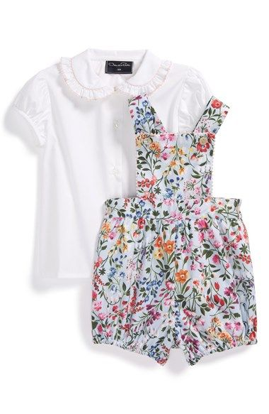 c43f070dcf6a Oscar de la Renta  Garden  Floral Print Bubble Romper   Blouse (Baby Girls)  available at  Nordstrom