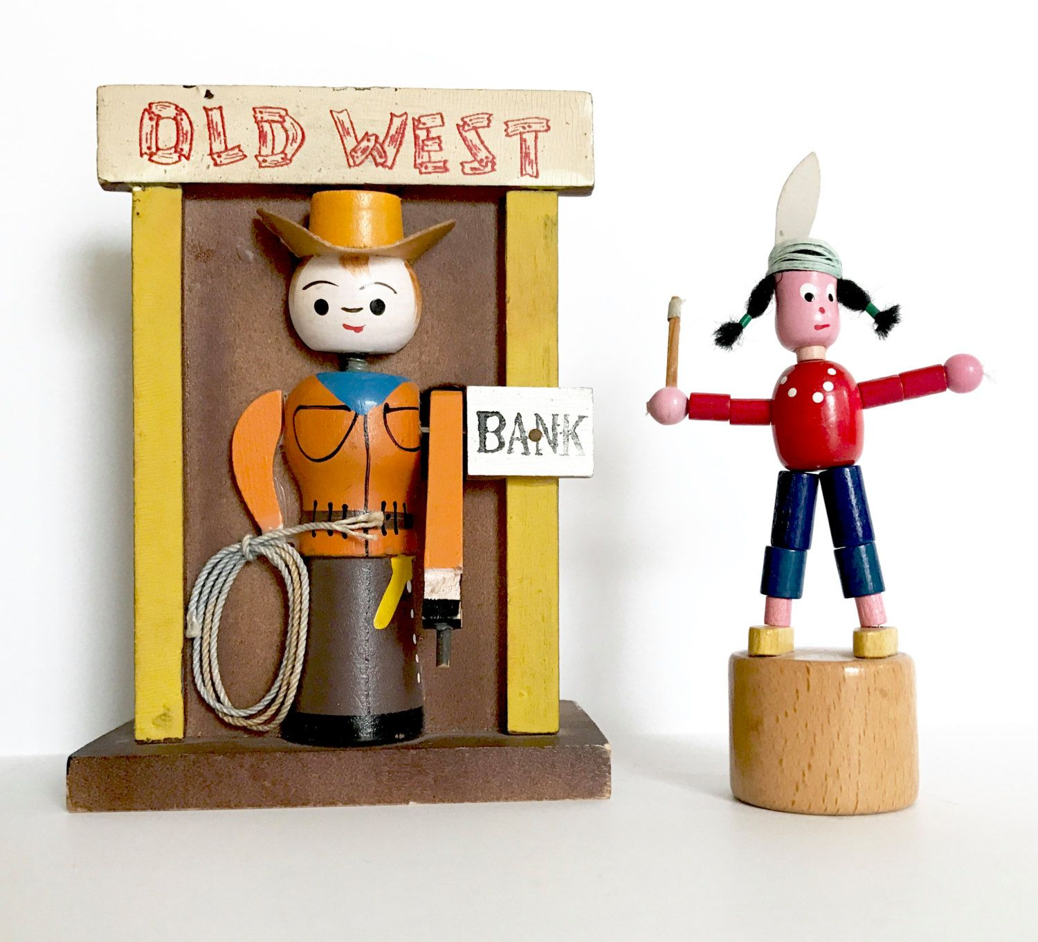 Vintage Bank Old West Cowboy Push Puppet Native American