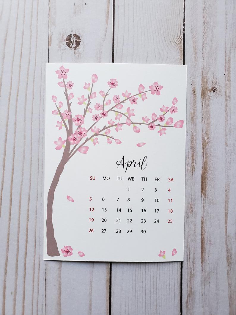 2020 Desk Calendar Seasonal Calendar Monthly Calendar Etsy Handmade Desk Calendar Calendar Pages Calendar
