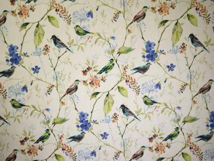 bird song fabric 100/% cotton prestigious textiles curtains Upholstery  grey