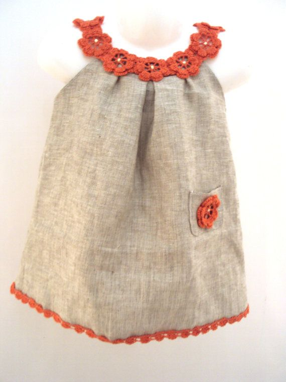 Items similar to Linen organic coral flower dress / tunic crochet dress/ sew for the baby / toddlers / girl of any size on Etsy