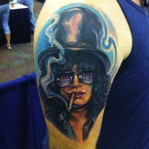 89c352a425d26 In case you can't get enough of Guns 'n' Roses, here's Slash.  #InkedMagazine #portrait #slash #GunsNRoses #tattoo #tattoos #inked #ink  #art #music #musician