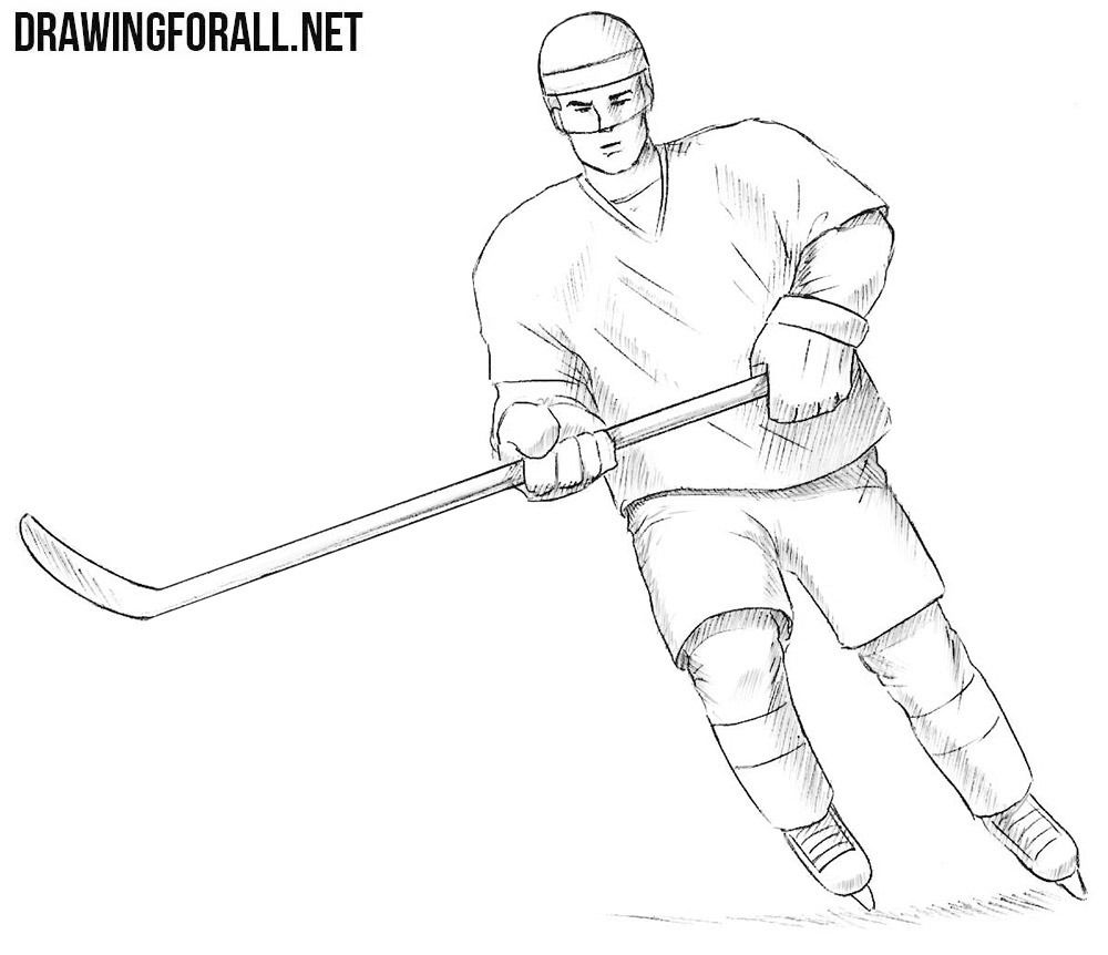 Hockey Player Drawing Hockey Players Hockey Drawing Hockey