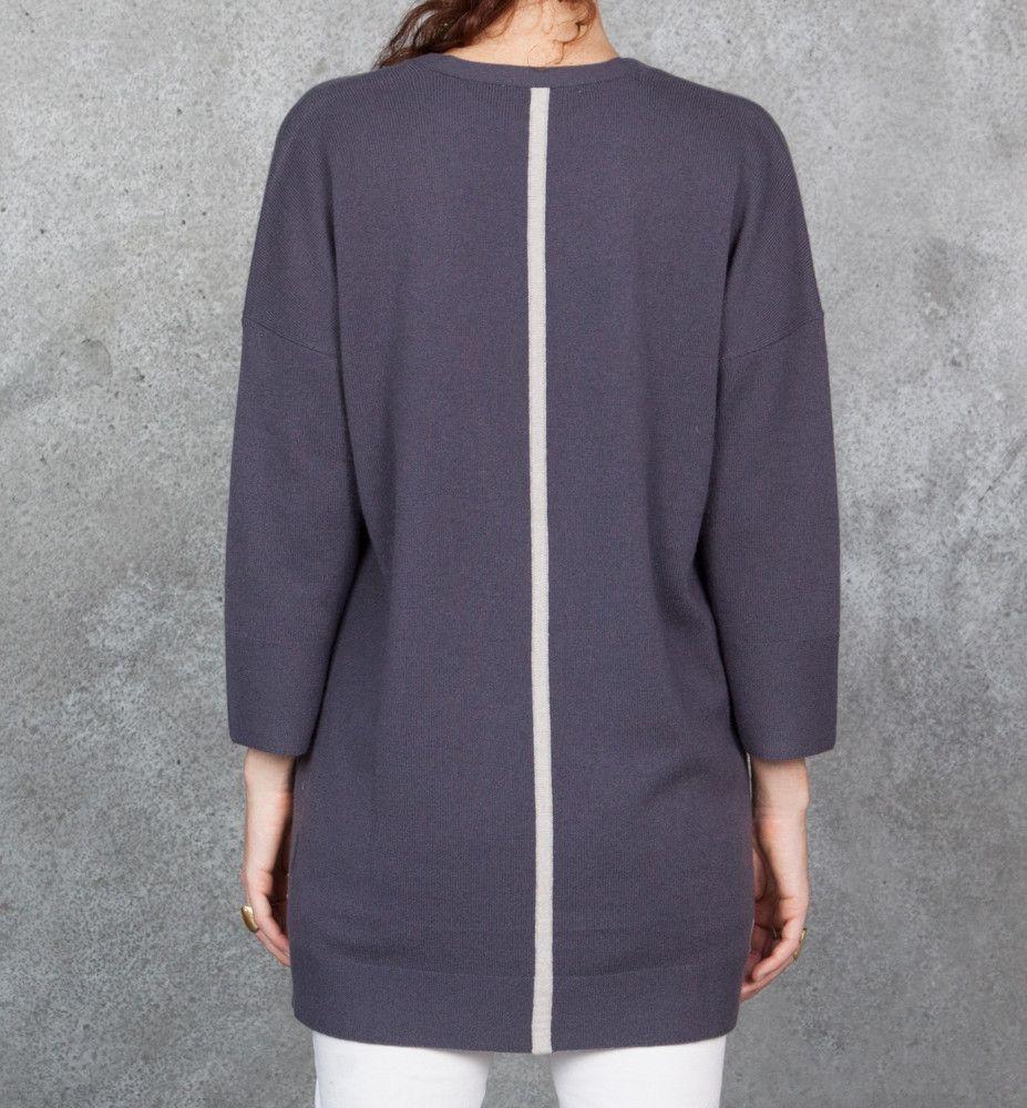 Cashmere tunic dark purple sweater with deep v neckline, elbow ...