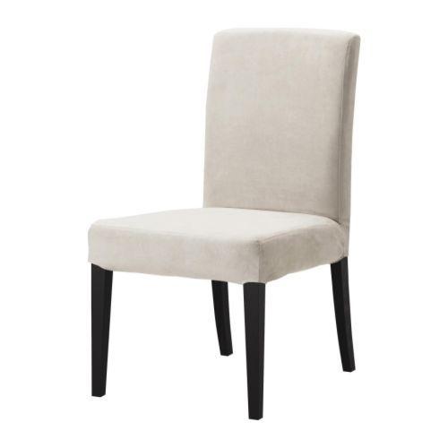 HENRIKSDAL Chair Brown Black Legs Kungsvik Sand Suede Removable Cover 8999