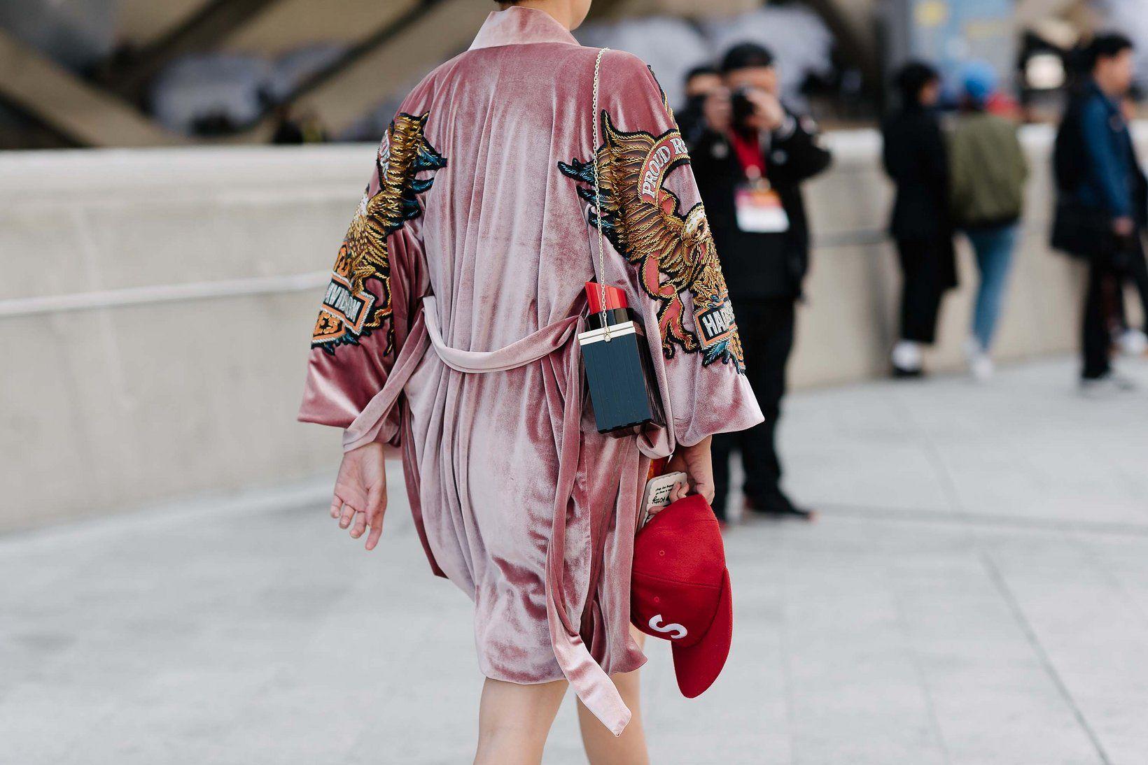Velvet embroidered robe