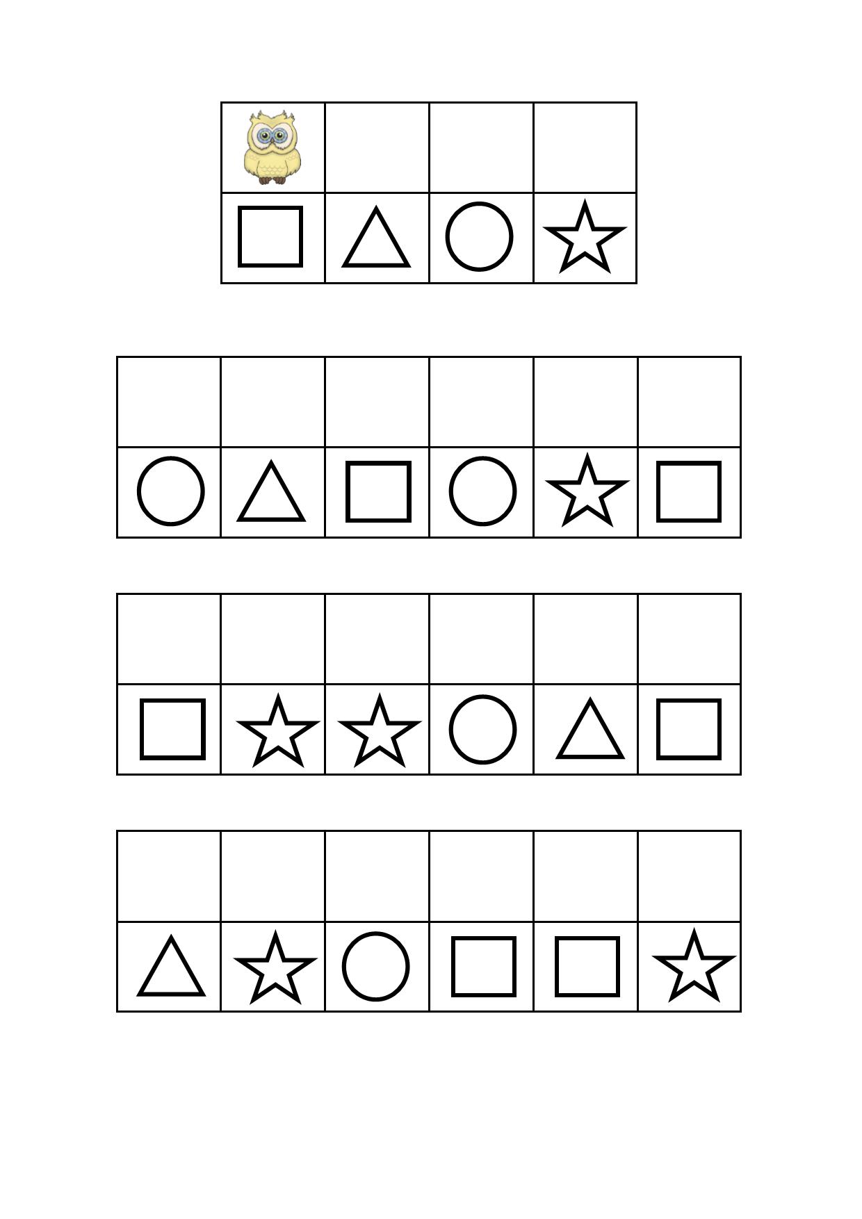 Tiles for the owl visual perception game. Find the belonging board on Autismespektrum on Pinterest. By Autismespektrum