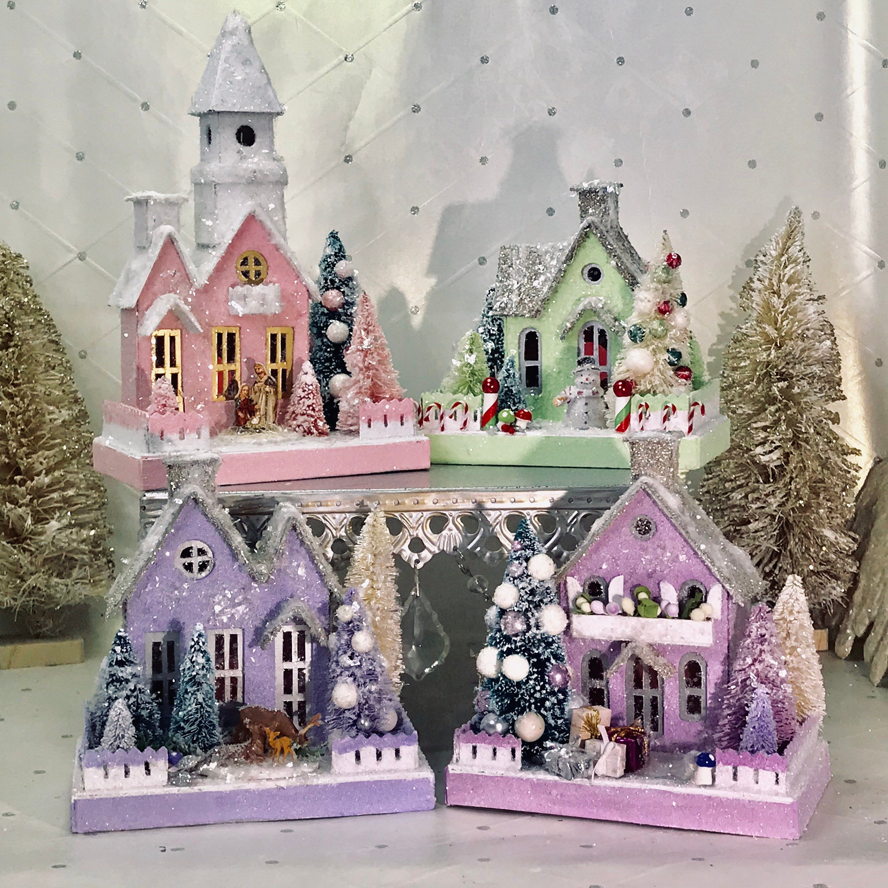 Putz Christmas Village Small Set Of 4 Houses Christmas Village Houses Office Christmas Decorations Christmas Decorations