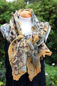 Handmade-lagenlook-SHIBORI-felted-wool-scarf-shawl-mustard-gold-duck-egg-blue