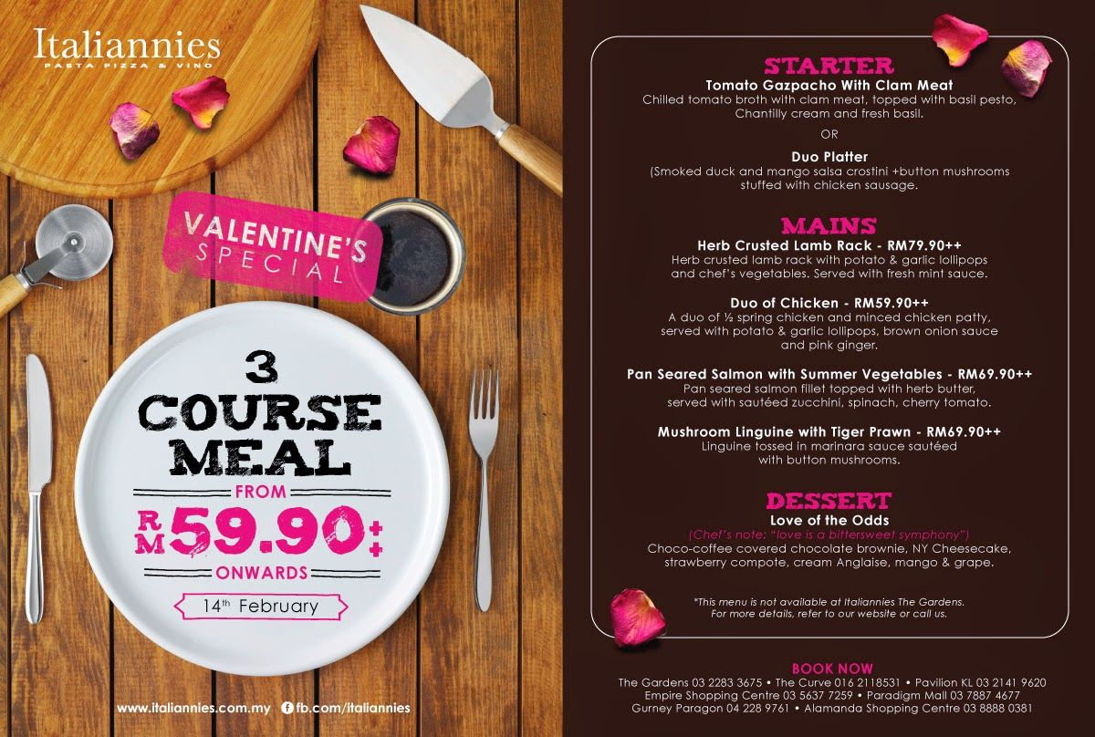 VALENTINE'S SPECIAL @ ITALIANNIES   In conjunction with Valentine's Day, Italiannies is offering a special menu for all the lovebirds that are looking for a romantic dining experience without breaking the bank. This 3-course special menu starts from RM59.90++. In addition to that, Italiannies will also be featuring a ...  Read more @ https://www.malaysianfoodie.com/2015/02/valentines-special-italiannies.html?utm_source=PN&utm_medium=Malaysian+Foodie+Pin&utm_campai