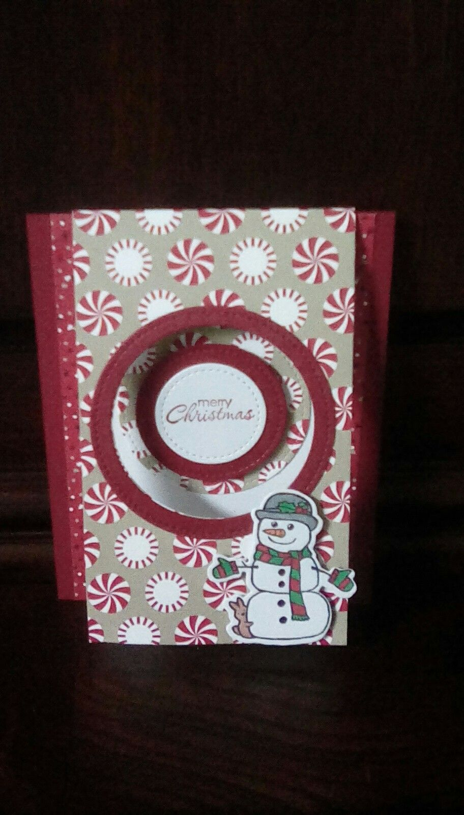 Fold Over Flap Card Featuring The Snowman From Seasonal Charms And