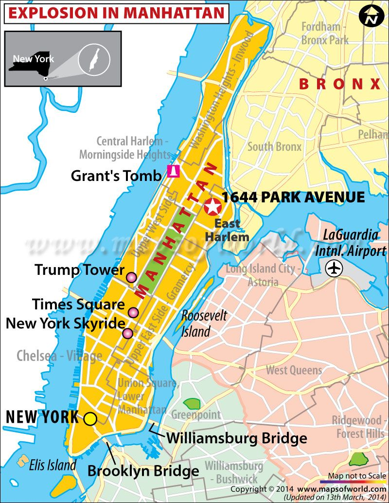 Location Map of Explosion in Manhattan, New York Current