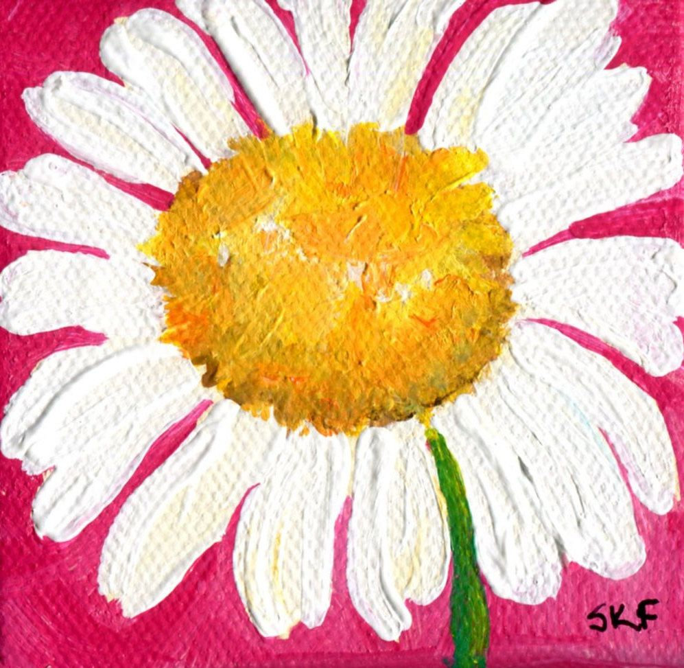 Daisy acrylic painting canvas art, mini painting, mini art, mini ...