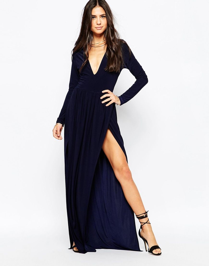 ee0907abf0 76.30 Image 1 of Club L Deep Plunge Maxi Dress with Double Thigh Splits