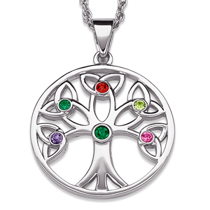 Tree of life family birthstone necklace gold or platinum plated tree of life birthstone necklacemoms or grandmas birthstone goes in the middle aloadofball Gallery